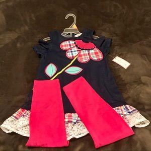 Emily Rose girls 2pc top/leggings set, sz 7